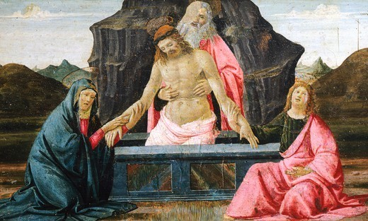 Stock Photo: 1788-47545 The Pieta, detail from the predella of the Sacred Conversation, 1479, by Domenico Ghirlandaio (1449-1494), tempera on wood.