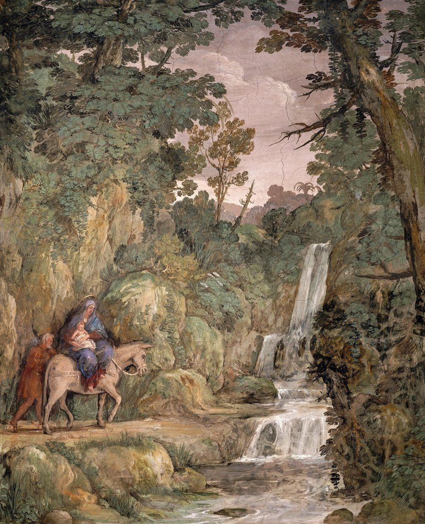 Flight into Egypt, 1621-1630, by Pietro da Cortona (1596-1669), fresco. Villa Sacchetti, Castelfusano. : Stock Photo