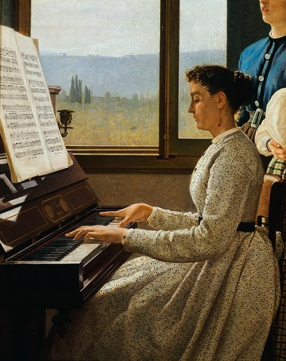 Stock Photo: 1788-47601 The song of the starling, 1867, by Silvestro Lega (1826-1895), oil on canvas. Detail.