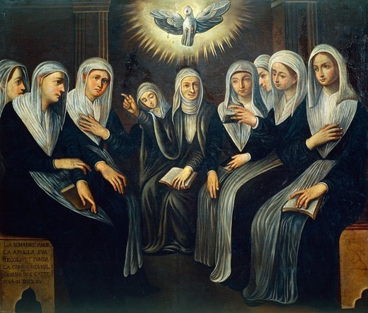 Stock Photo: 1788-47620 St Angela Merici explaining the rules to eight sisters at the founding of the Ursuline Order, 17th century.