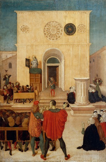 Stock Photo: 1788-47622 The sermon of St John of Capistrano in the city of L 'Aquila, scene from the right side panel of the Altarpiece with scenes from the life of St John of Capistrano, 1480-1485, by the Master of St John of Capistrano (active 15th century), tempera on board, 177x193 cm.
