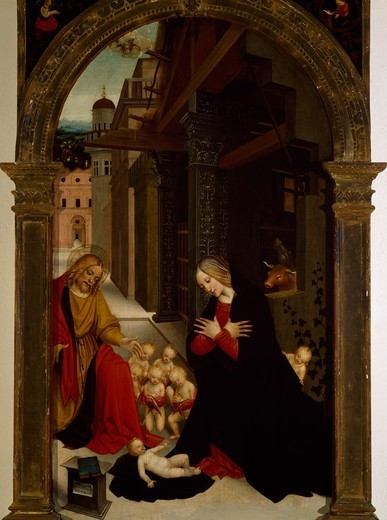 Nativity, by Giuseppe Giovenone (1486 or 1487-1555), board, 132x79 cm. : Stock Photo