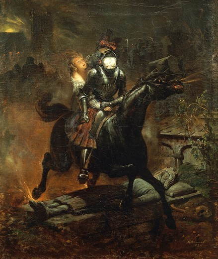 Stock Photo: 1788-47712 The ballad of Leonora (or Lenore), 1839, by Horace Vernet (1789-1863).