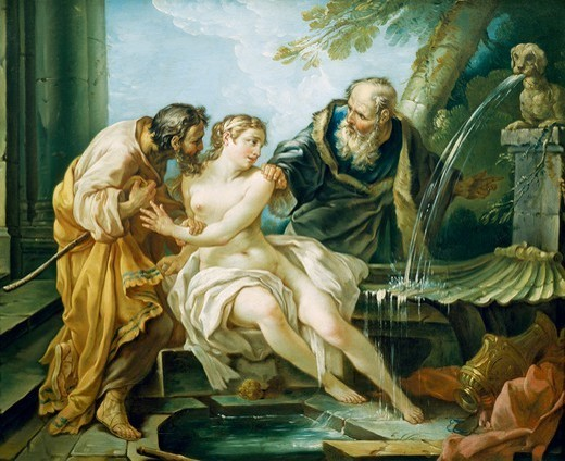 Susanna and the Elders, by Joseph-Marie Vien the Elder (1716-1809). : Stock Photo