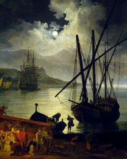 Stock Photo: 1788-47714 Eruption of Vesuvius as seen from Portici, by Pierre-Jacques Volaire (1729-1792), oil on canvas, 52x79 cm. Detail.