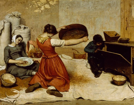 Girl Screening Grain (Les cribleuses de ble), 1853, by Gustave Courbet (1819-1877), oil on canvas, 131x167 cm. : Stock Photo