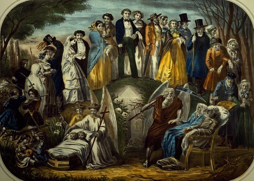 Stock Photo: 1788-47724 The ages of life, colour print. France, 19th Century.