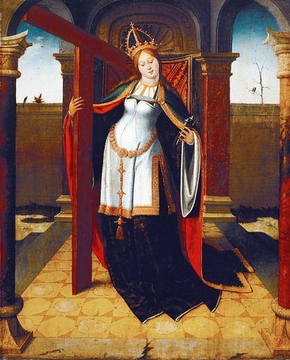 Empress Helena of Byzantium of the True Cross, 15th century, attributed to the Master of the Life of St Gudula, panel. : Stock Photo