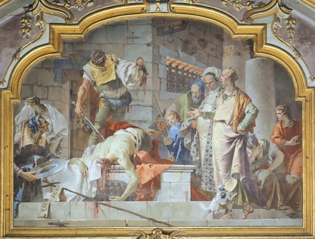 The beheading of John the Baptist, 1733, by Giovanni Battista Tiepolo (1696-1770), fresco. Colleoni Chapel, Bergamo. : Stock Photo