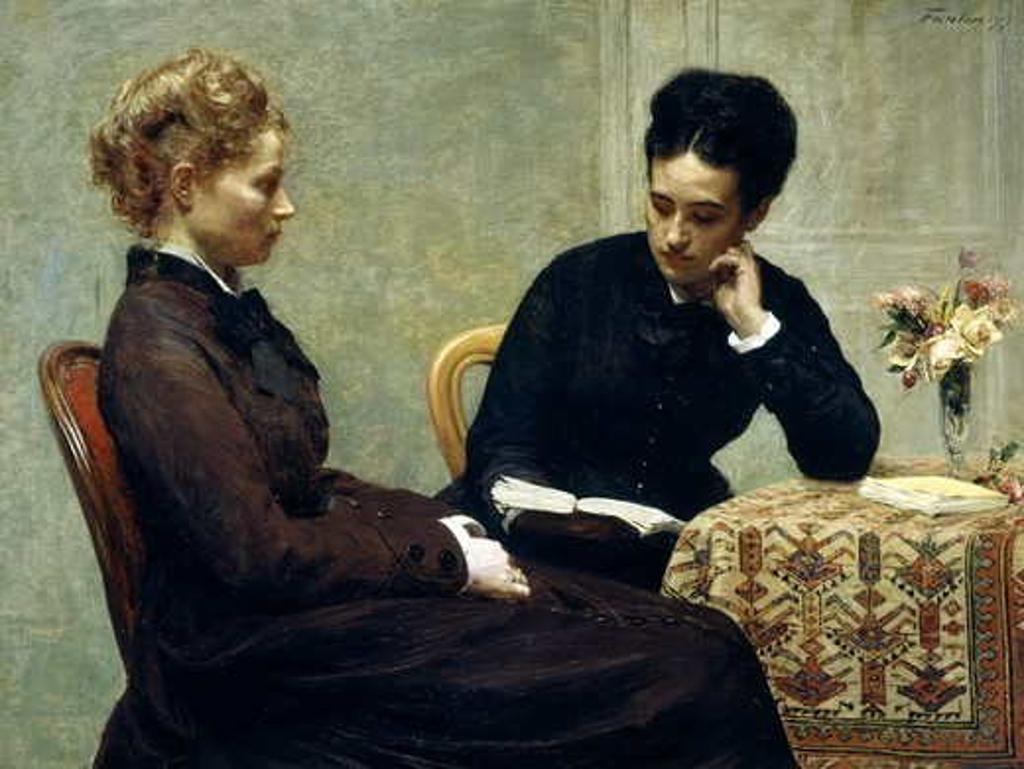 Reading, 1877, by Henri Fantin-Latour (1836-1904). : Stock Photo