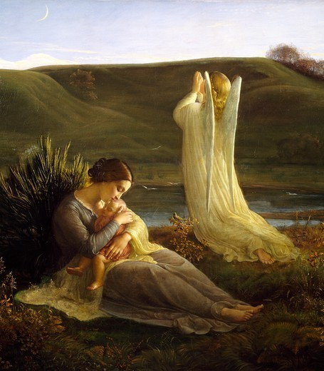 An angel and a mother, 1854, by Louis Janmot (1814-1892), oil on canvas, 104x144 cm. Detail. : Stock Photo