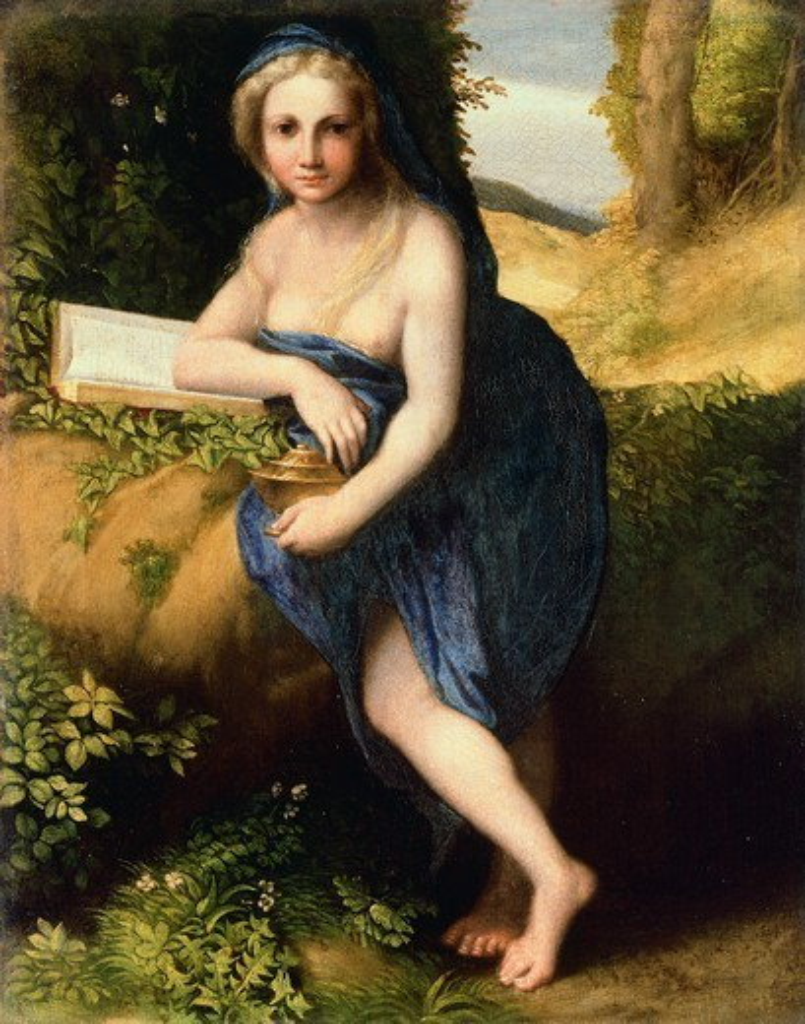 Stock Photo: 1788-47755 Mary Magdalene, 1517-1518, by Antonio Allegri, known as Correggio (1489-ca 1534), oil on canvas, 38x30 cm.