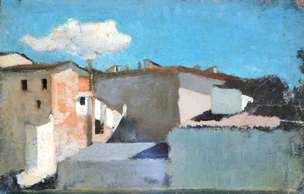 Stock Photo: 1788-47778 Roofs under the sun, ca 1861, by Raffaello Sernesi (1838-1866).