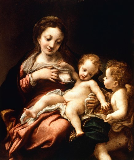 Stock Photo: 1788-47789 Virgin and Child with an Angel (Madonna del Latte), ca 1524, by Antonio Allegri, known as Correggio (1489-ca 1534). Oil on wood, 68.5 cmx87.