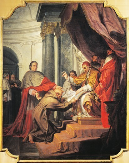 Stock Photo: 1788-47810 St Francis of Assisi presents the Rule to Pope Innocent IV, by Nicholas Ricciolini (1687-1772).