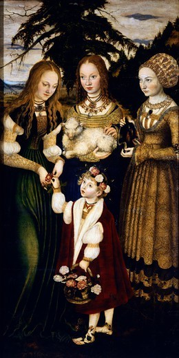 Saints Dorothea, Agnes and Kunigunde, west wing of the triptych of the Altar of St Catherine, 1508, by Lucas Cranach the Elder (1472-1553), oil on wood. : Stock Photo