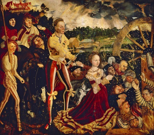 Stock Photo: 1788-47824 The Martyrdom of Saint Catherine, 1506, central of the triptych of the Altar of St Catherine, by Lucas Cranach the Elder (1472-1553), oil on wood.