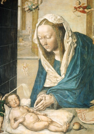 Stock Photo: 1788-47829 Maria with the child, detail from the Dresden Altarpiece, ca 1496, by Albrecht Durer (1471-1528).