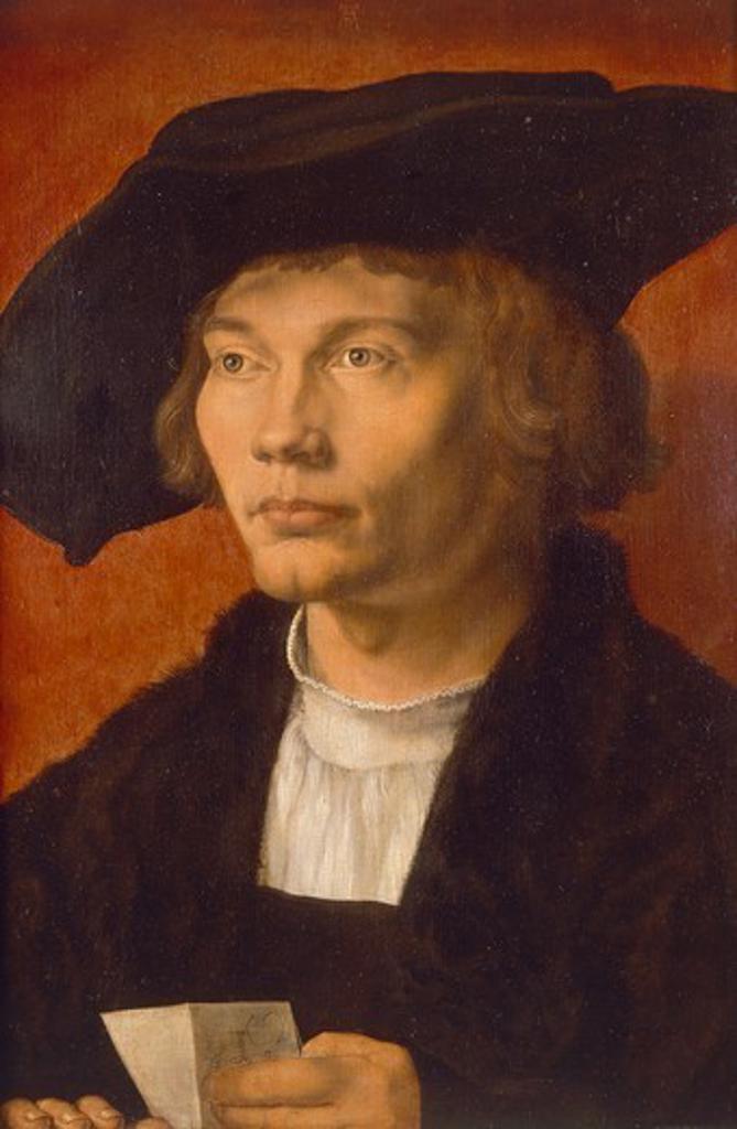 Stock Photo: 1788-47830 Portrait of Bernhard von Reesen, 1521, by Albrecht Durer (1471-1528), oil on panel, 45.4 x31.5 cm.