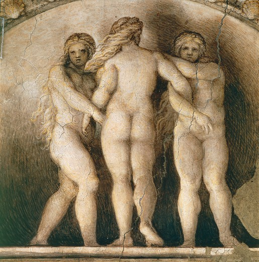 Lunette of the three Fates, detail of the decoration from St Paul's Chamber or the Abbess' Chamber, 1519-1520, by Antonio Allegri, known as Correggio (1489-ca 1534), fresco. Convent of San Paolo, Parma. : Stock Photo