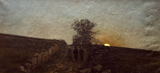 The Busseto country at moonrise, painting by an unknown Italian painting 19th century. : Stock Photo