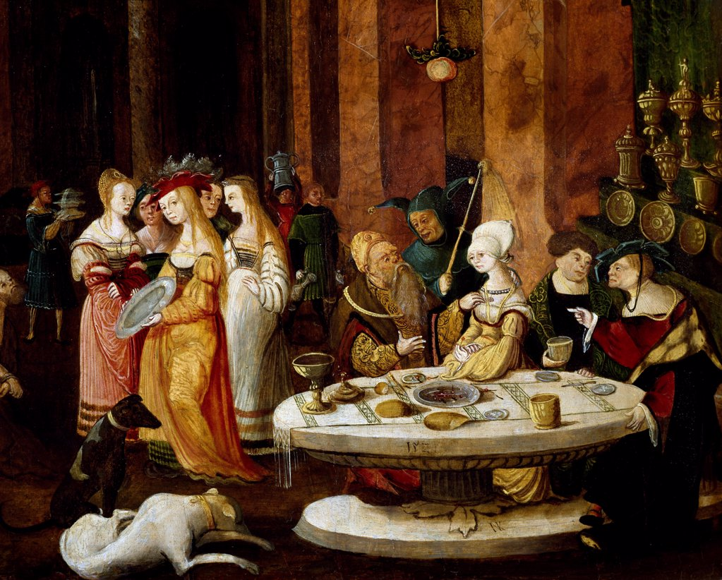Stock Photo: 1788-47894 The Salome's banquet, ca 1521, by Nikolaus Kirberger (active 1519-1521). Detail.