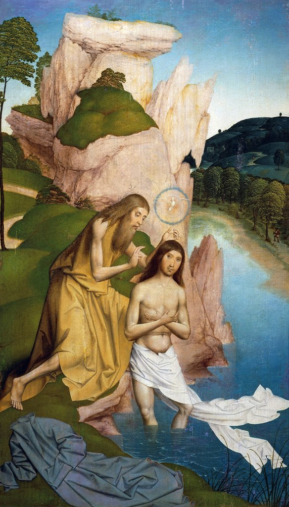 Stock Photo: 1788-47896 Baptism of Christ, by Rueland Frueauf the Younger (ca 1470-after 1545).