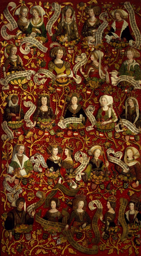 Stock Photo: 1788-47897 Women of the House of Babemberg from 976 to 1246, detail of the Bamberg family tree triptych, 1489-1492, by Hans Part, 15th Century.