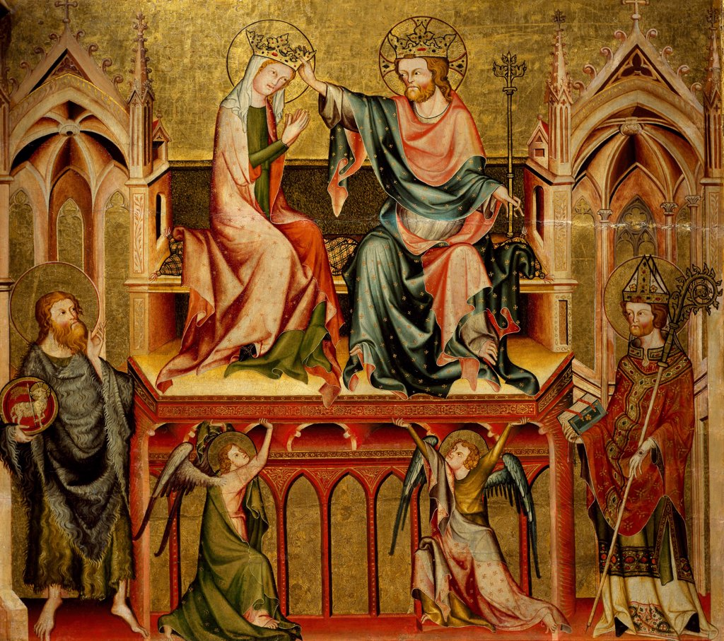 Stock Photo: 1788-47899 Coronation of the Virgin, back panel of the Verdun Altarpiece, 1331, by the Master of the Verdun Altarpiece, tempera on panel, 108x121 cm. Klosterneuburg Abbey.
