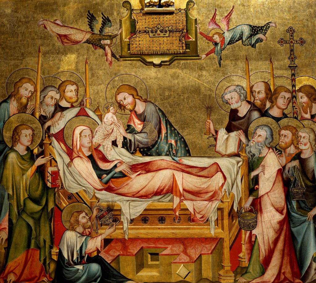 Stock Photo: 1788-47900 Death of the Virgin, back panel of the Verdun Altarpiece, 1331, by the Master of the Verdun Altarpiece, tempera on panel, 108x121 cm. Klosterneuburg Abbey.