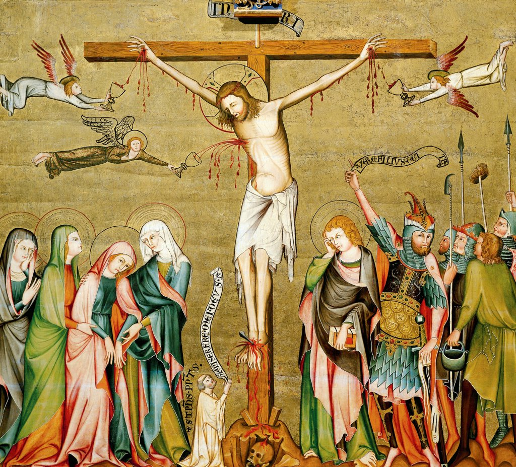 Stock Photo: 1788-47901 Crucifixion, back panel of the Verdun Altarpiece, 1331, by the Master of the Verdun Altarpiece, tempera on panel, 108x121 cm. Klosterneuburg Abbey.