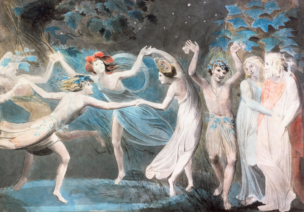 Oberon, Titania and Puck with dancing fairies, 1786, by William Blake (1757-1827), watercolour on paper, 47x67 cm. : Stock Photo