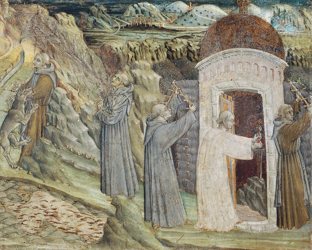 Religious men destroying the hut and breaking the sword, detail from the predella of the St Galgano Altarpiece, ca 1470, by Giovanni di Paolo (active from ca 1420-1482). : Stock Photo