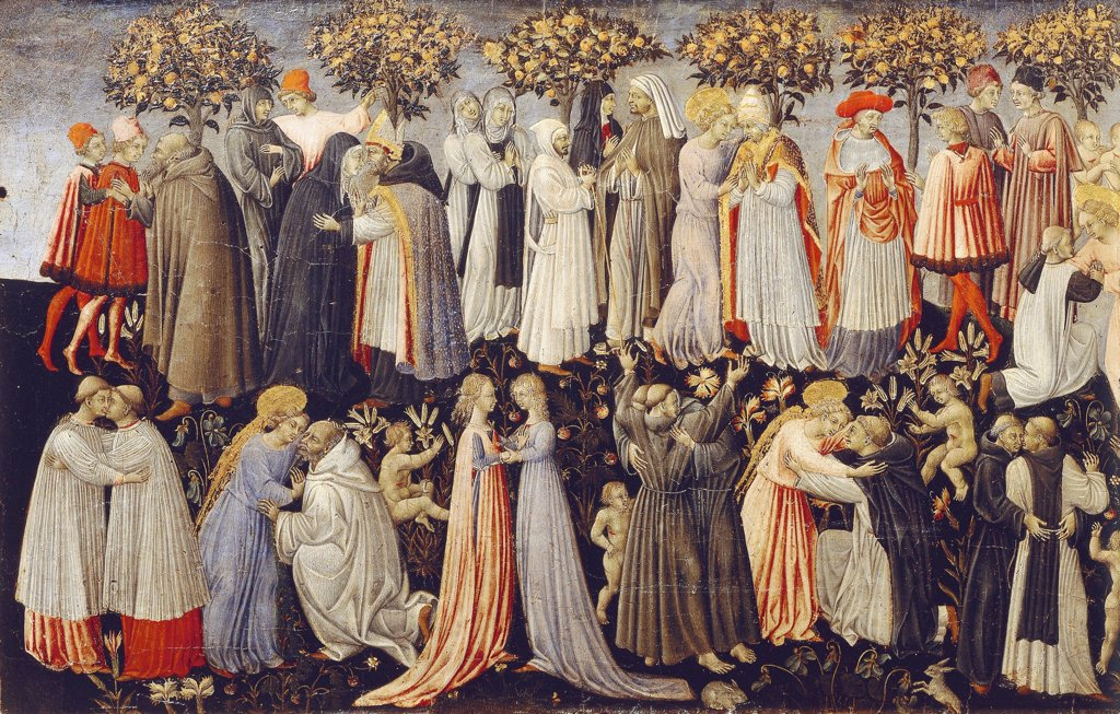 Stock Photo: 1788-47932 Paradise, detail from the Last Judgment, 1460-1465, by Giovanni di Paolo (active from ca 1420-1482).