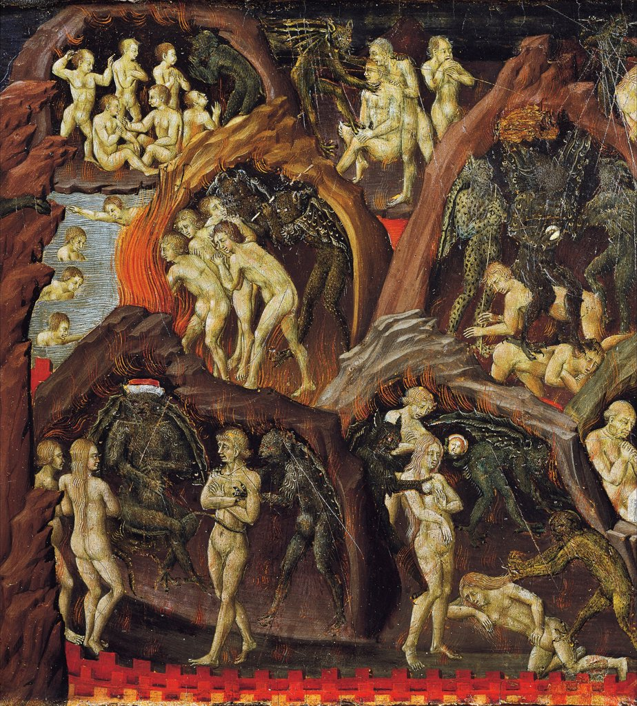 Stock Photo: 1788-47934 Hell, detail from the Last Judgment, 1460-1465, by Giovanni di Paolo (active from ca 1420-1482).