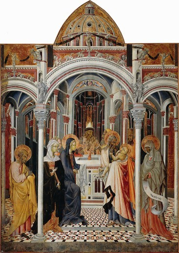 Stock Photo: 1788-47935 Presentation of Jesus in the Temple, after 1445, by Giovanni di Paolo (active ca 1420-1482).