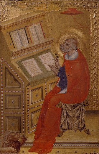 St Jerome in his Study, 1426, by Giovanni di Paolo (active ca 1420, died 1482), tempera on panel, 32.4 x 22.1 cm. : Stock Photo