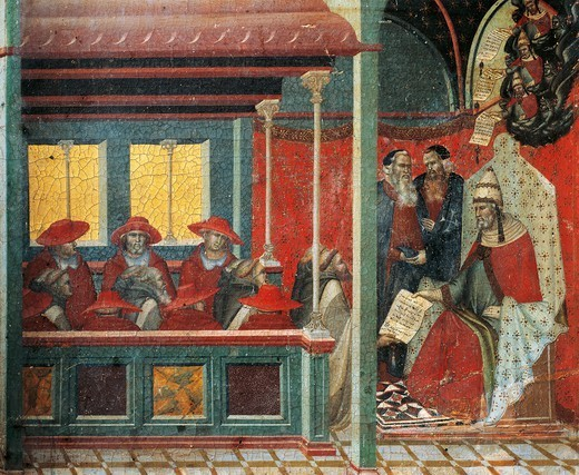 Honorius III approving the Carmelite rule, detail from the predella of the altarpiece for the Carmine, by Pietro Lorenzetti (ca 1280-1348), tempera and gold on wood panel. : Stock Photo