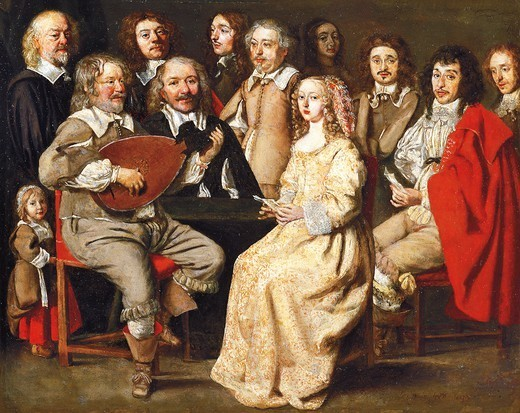 Musical gathering, by Louis Le Nain (1593-1648) and Antoine Le Nain (1599-1648). Detail. : Stock Photo