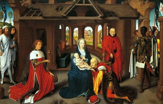 Adoration of the Magi, by Hans Memling (ca 1430-1494), detail from the Triptych with the Nativity, Adoration of the Magi and Presentation in the Temple. : Stock Photo