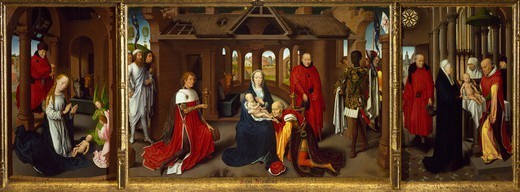Stock Photo: 1788-47991 Triptych showing the Nativity, Adoration of the Magi and Presentation in the Temple, by Hans Memling (ca 1430-1494).