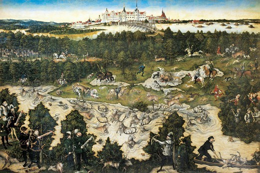 Stock Photo: 1788-48000 Hunt in honour of Charles V at the Castle of Torgau, 1545, by Lucas Cranach the Elder (1472-1553).