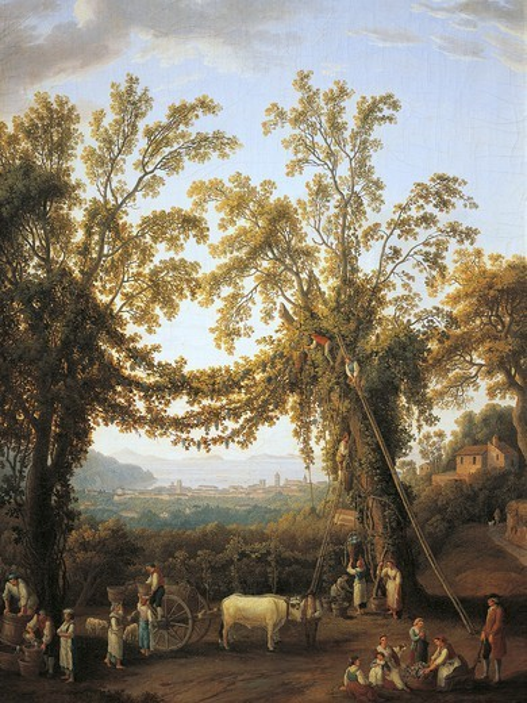 Autumn, harvest near Sorrento, by Jacob Philipp Hackert (1737-1807). : Stock Photo