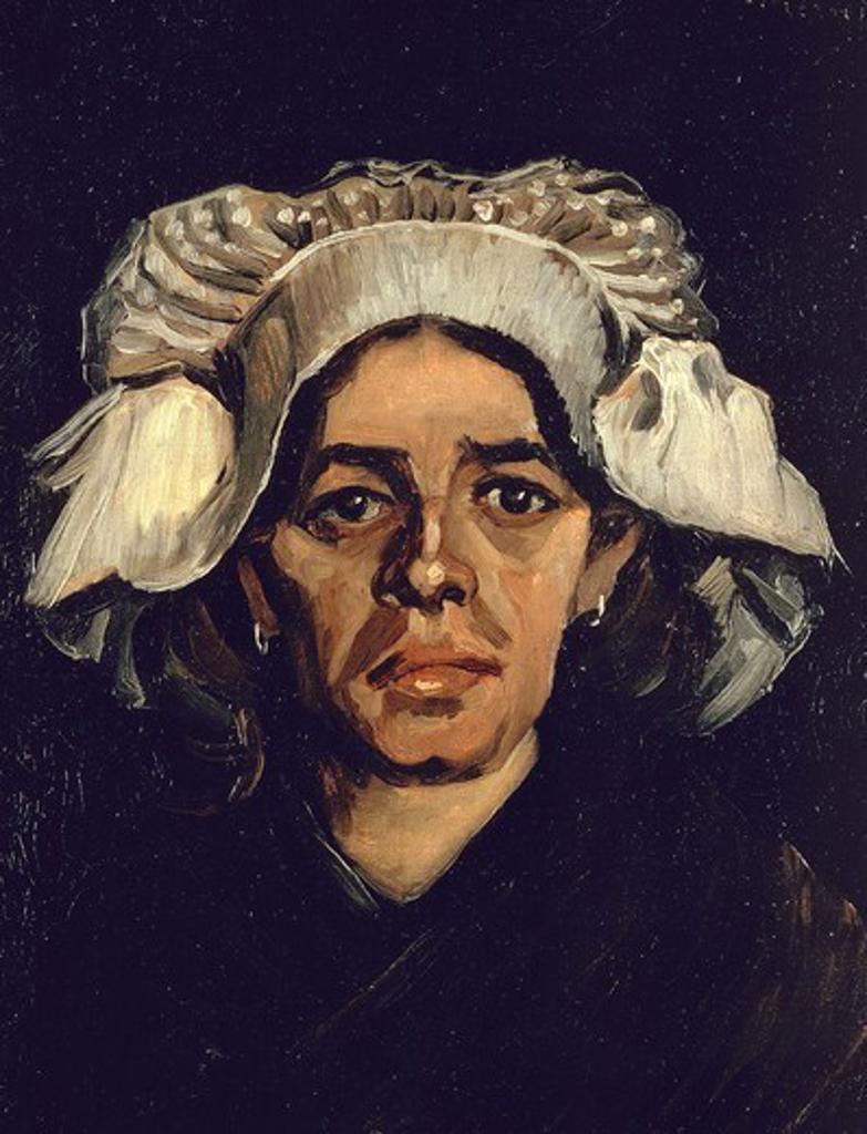 The woman, portrait of Gordina de Groot, 1885, by Vincent van Gogh (1853-1890), oil on canvas, 41x34.5 cm. : Stock Photo