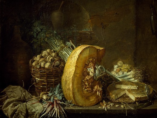 Stock Photo: 1788-48170 Still life with vegetables, by Henri Horace Roland de la Porte (1724 or 1725-1793).