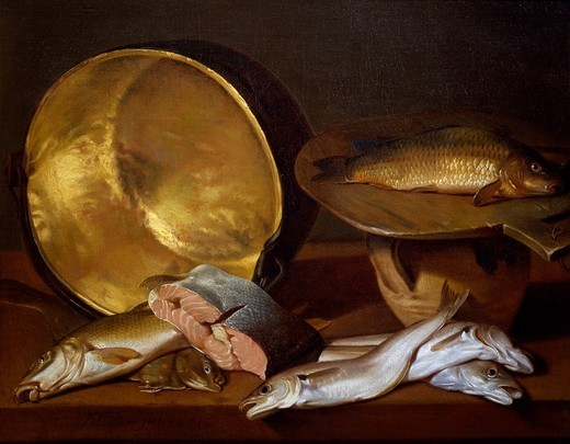 Still life with fishes, by Francois Mather. : Stock Photo