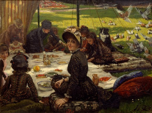 Stock Photo: 1788-48174 Lunch on the lawn, by James Tissot (1836-1902).