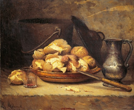 Meal of the Poor, by Laurent Adenot (1848-1929). : Stock Photo