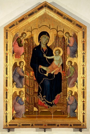 Madonna Rucellai or Laudesi Madonna, ca 1285, by Duccio di Buoninsegna (ca 1255 - pre-1319), tempera on wood, 450x290 cm. : Stock Photo