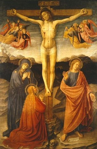 Crucifixion, by Donato de' Bardi (active in the first half of the 15th century). : Stock Photo
